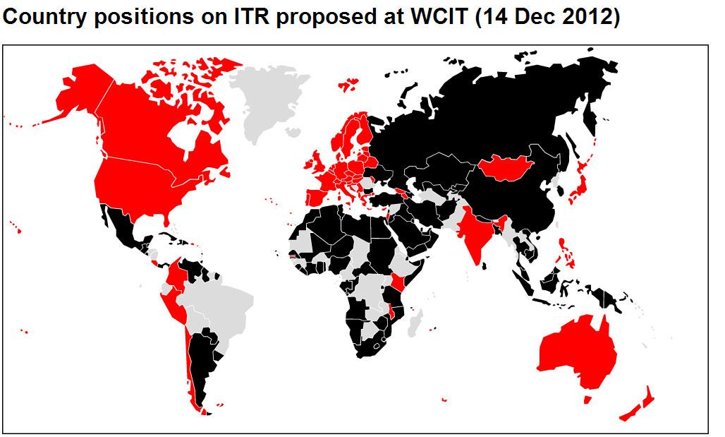 Verdeling stemmen over WCIT voorstel
